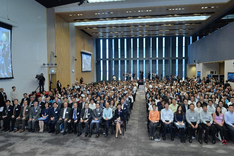 The Chief Secretary for Administration, Mrs Carrie Lam, and representatives of relevant policy bureaux and government departments are pictured with participants of the Climate Change Stakeholder Engagement Forum today (July 12).