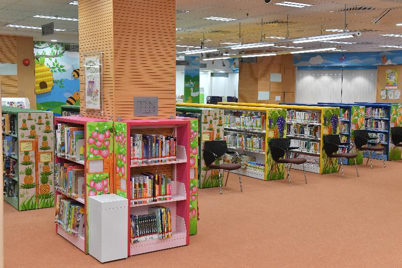 粉嶺南公共圖書館明日(八月二十三日)起開放予市民使用,為區內居民提供多元化的圖書館服務。圖示粉嶺南公共圖書館內的兒童圖書館。