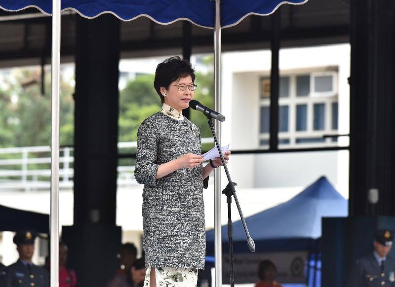 政務司司長林鄭月娥今日(十月三十日)在警察學院主持香港航空青年團成立四十五周年大匯操暨新團旗頒授儀式,並在活動上致辭。