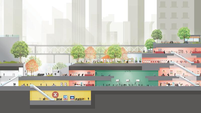 「城市地下空間發展:策略性地區先導研究」第一階段公眾參與活動今日(十一月七日)展開,收集公眾對發展地下空間的意見。研究初步提出的地下空間,可提供額外行人通道以紓緩地面擠迫的人流和交通,並提供全天候和無障礙的行人通道。