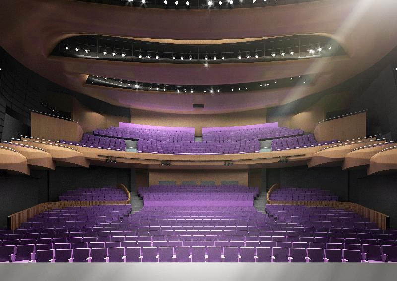 東九文化中心奠基典禮今日(十二月八日)於牛頭角下邨原址舉行。圖為東九文化中心演藝廳竣工後的構想圖。