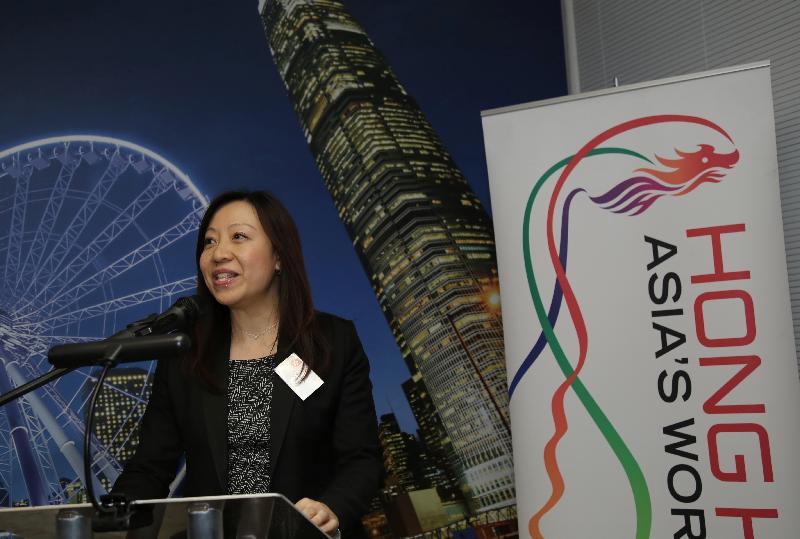 香港駐倫敦經濟貿易辦事處處長杜潔麗於十二月六日(倫敦時間)在倫敦香港金融服務業論壇2016酒會上致歡迎辭。
