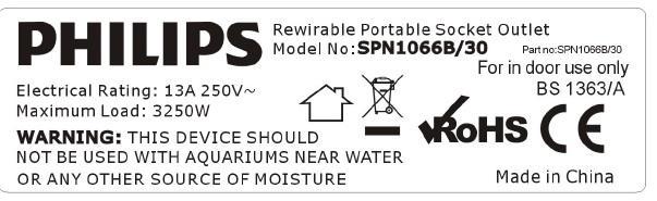 機電工程署今日(十二月十六日)呼籲市民停用一款型號為SPN1066B/30的「飛利浦」牌拖板。圖示該型號拖板的背部標貼,顯示產品資料。