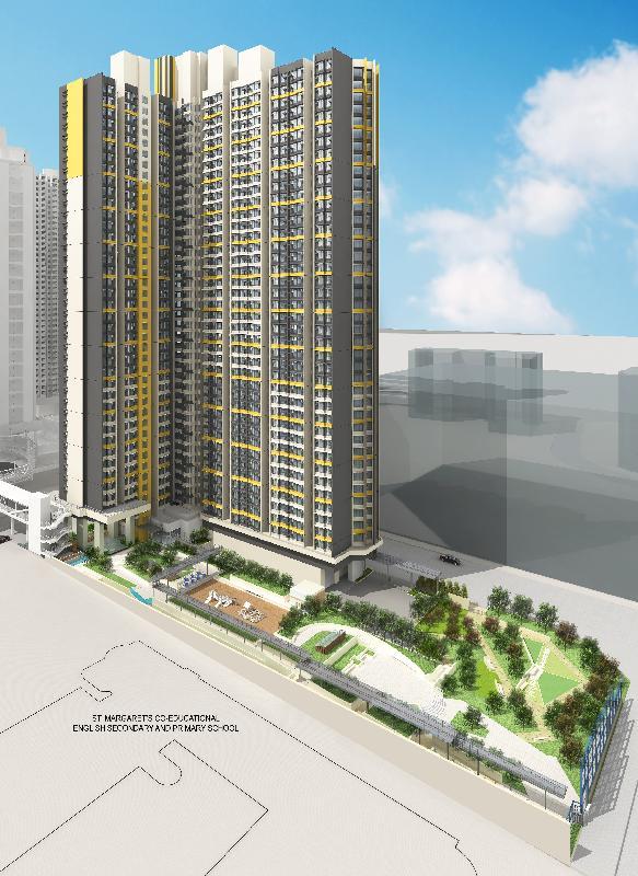 香港房屋委員會在規劃發祥街西項目時盡量優化用地規劃,減少對毗鄰地區通風和景觀的影響。圖為畫家筆下項目的構想圖。