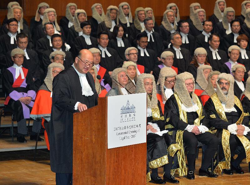 終審法院首席法官馬道立今日(一月九日)在香港大會堂音樂廳向包括法官、司法人員和法律界人士等一千多名與會人士致辭。