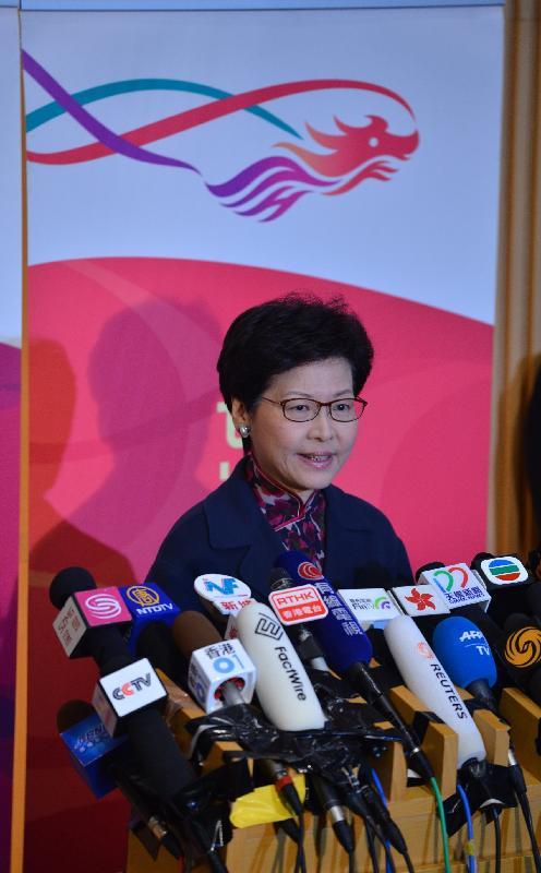 政務司司長林鄭月娥今日(一月十二日)下午在政府總部會見傳媒。
