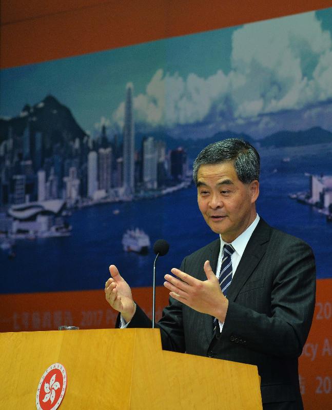 行政長官梁振英今日(一月十八日)下午在添馬政府總部主持《施政報告》記者會,進一步介紹《施政報告》的內容。