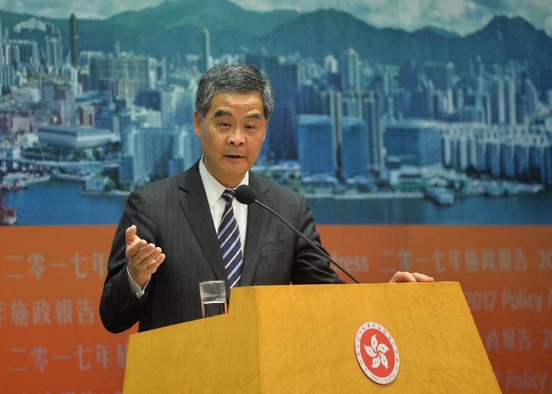 行政長官梁振英今日(一月十八日)下午在添馬政府總部主持《施政報告》記者會,並回應提問。