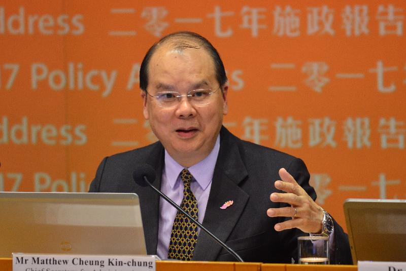 政務司司長張建宗今日(一月十九日)下午在記者會上闡述二零一七年《施政報告》中其政策範疇的相關措施。