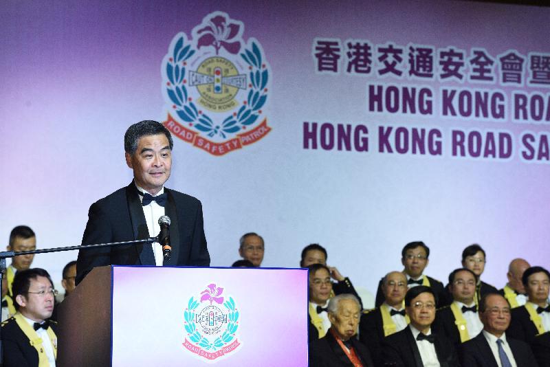 行政長官梁振英今日(一月二十三日)傍晚在香港會議展覽中心出席香港交通安全會暨香港交通安全隊周年晚宴,並在活動上致辭。