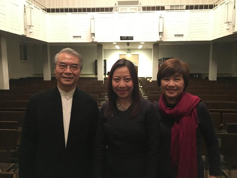The Hong Kong Chinese Orchestra (HKCO) performed in St Petersburg on February 16 (Russian time). The Director-General of the Hong Kong Economic and Trade Office, Ms Priscilla To (centre), pictures with the Artistic Director and Principal Conductor of the HKCO, Yan Hui-chang (left), and the Executive Director of the HKCO, Ms Celina Chin (right).