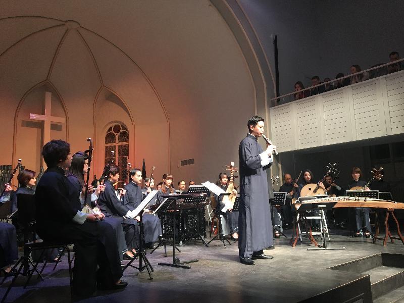 香港中樂團於二月十六日(俄羅斯時間)在聖彼得堡舉行音樂會,馬瑋謙在音樂會上吹奏管子。