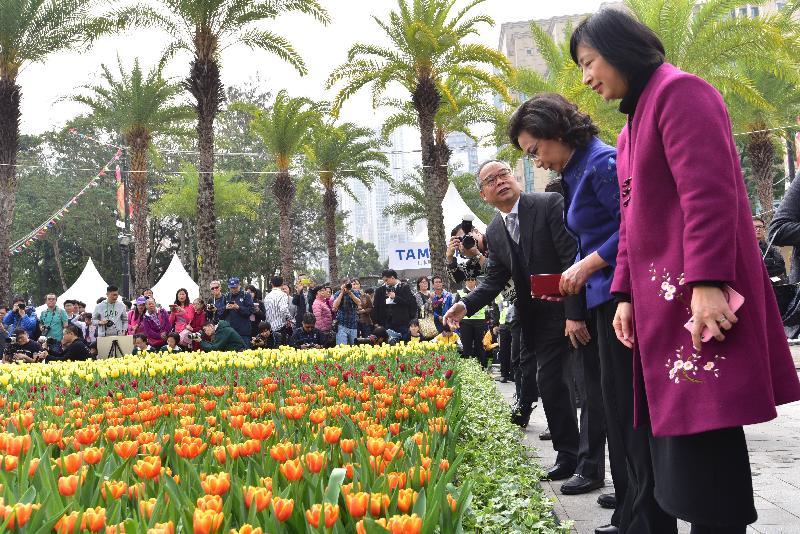 香港花卉展覽今日(三月十日)在維多利亞公園開幕。圖示(左起)民政事務局局長劉江華、行政長官夫人梁唐青儀和康樂及文化事務署署長李美嫦參觀繽紛悅目的鬱金香花海。