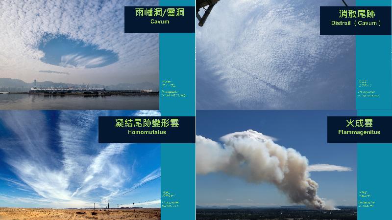 四幅由香港提供、入選新版《國際雲圖》的新雲種照片。