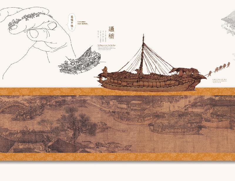 康樂及文化事務署於四月七至十三日,在國際金融中心一期舉行《古今城市漫遊》展覽。圖示《清明上河圖》部分構圖。