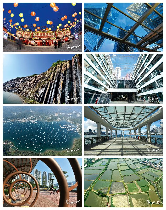 一套八辑「香港多角度」的相片,展现对称的图案,以崭新角度重看香港。这些图案在香港特区成立20周年的纪念品上一一呈现。