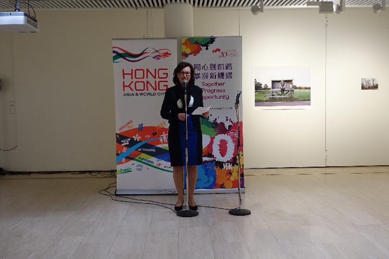埃波斯文化總監Susanna Tommila四月七日(芬蘭時間)在參加埃波斯音樂會前,於香港駐倫敦經濟貿易辦事處舉辦的酒會上致辭。
