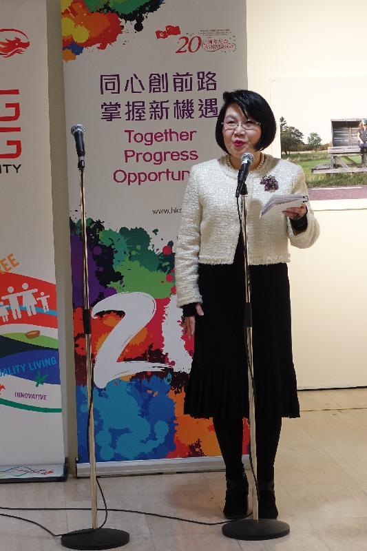 垂誼樂社理事會主席蔡關頴琴四月七日(芬蘭時間)在參加埃波斯音樂會前,於香港駐倫敦經濟貿易辦事處舉辦的酒會上致辭。