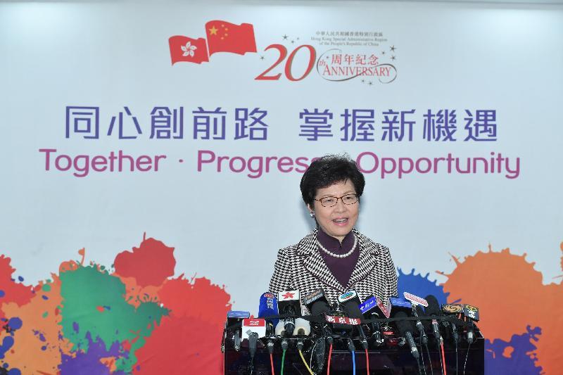 候任行政長官林鄭月娥今日(四月十一日)在北京會見傳媒。