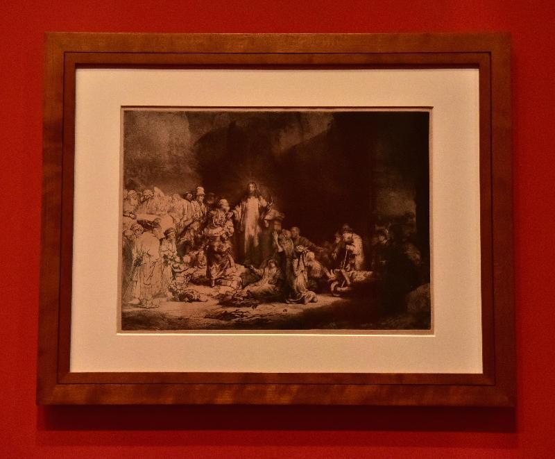 「羅浮宮的創想──從皇宮到博物館的八百年」展覽開幕典禮今日(四月二十五日)在香港文化博物館舉行。圖示林布蘭的版畫作品《耶穌行醫》(約1649年,艾特蒙‧羅富齊藏品,羅浮宮博物館素描版畫部)。
