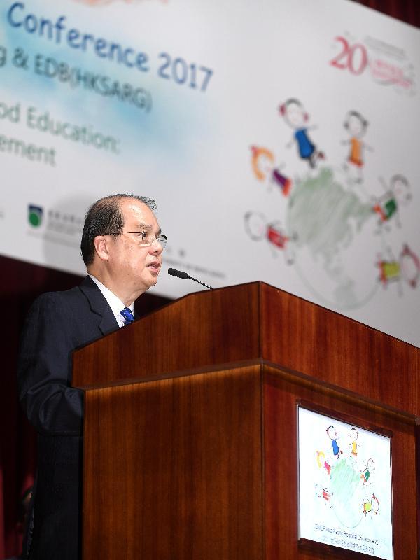 政務司司長張建宗今日(五月十八日)在2017世界幼兒教育聯會亞太區研討會開幕典禮上致辭。