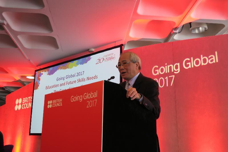 教育局局長吳克儉於五月二十四日(倫敦時間)在倫敦出席由英國文化協會舉辦的全球國際教育論壇「Going Global 2017」,於分組討論環節向來自世界各地的教育領袖發表演說。