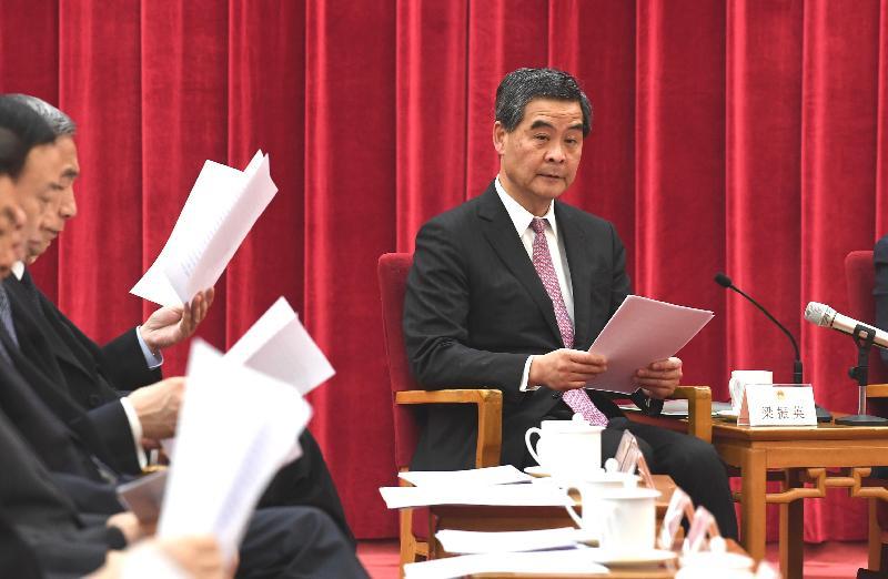 行政長官梁振英今日(五月二十七日)在北京出席紀念中華人民共和國《香港特別行政區基本法》實施二十周年座談會。圖為梁振英在會上發言。