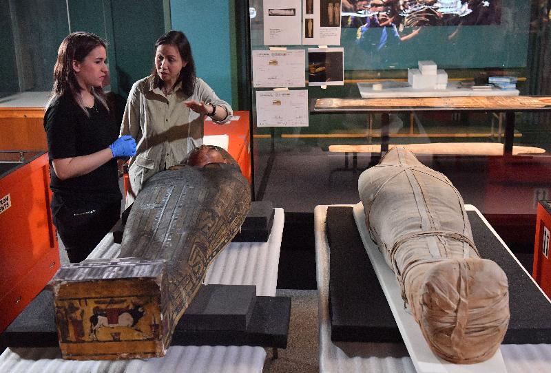 「永生傳說--透視古埃及文明」展覽於六月二日至十月十八日在尖沙咀香港科學館舉行。圖示展品「內斯達華狄特的木乃伊和內棺木」的開箱情況。