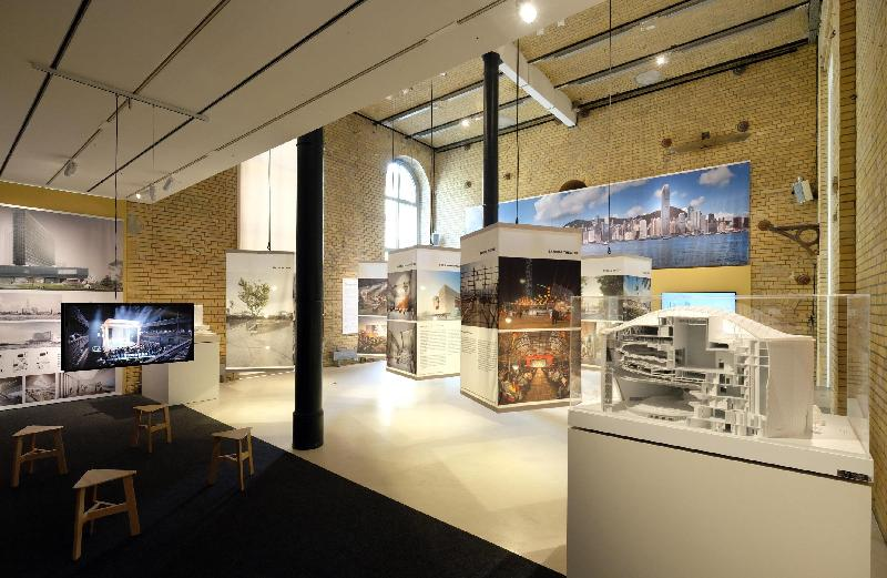 "The Hong Kong Economic and Trade Office, Berlin (HKETO Berlin) is presenting the West Kowloon Cultural District (WKCD) project to a Berlin audience until July 13 through an exhibition organised in collaboration with the Aedes Architecture Forum and the WKCD Authority. Photo shows the ""Constructing Culture"" exhibition."