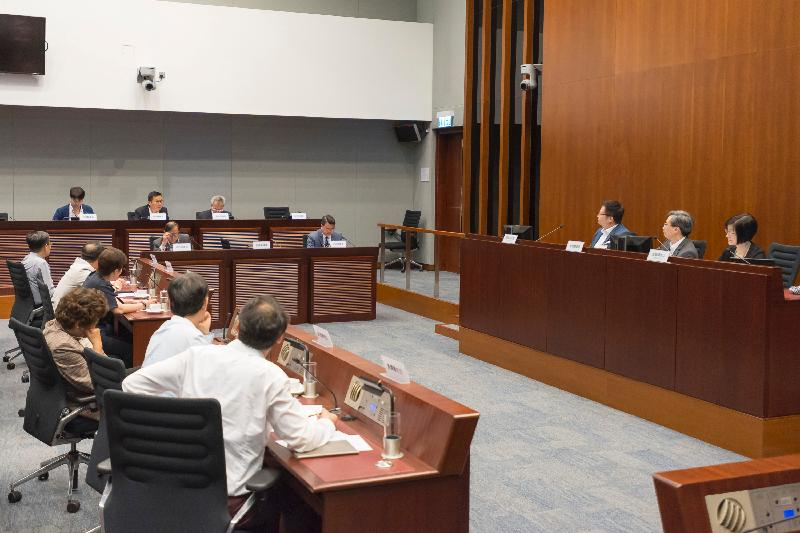 Members of the Legislative Council (LegCo) and Kwai Tsing District Council discuss matters relating to the early rehabilitation and opening of Kwai Chung Park at a meeting at the LegCo Complex today (June 23).