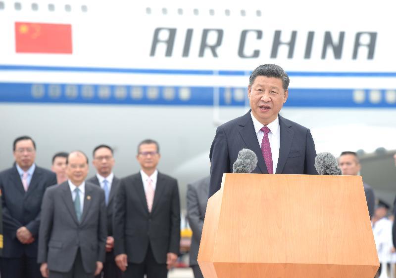 國家主席習近平今日(六月二十九日)在機場停機坪向傳媒發表簡短講話。