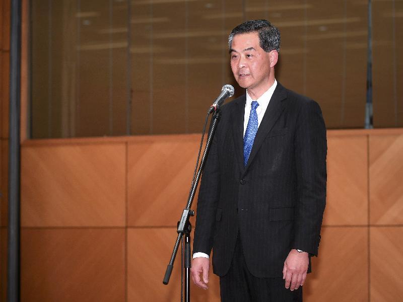 行政長官梁振英今日(六月三十日)在香港會議展覽中心向國家主席習近平和香港各界人士發表簡短講話。