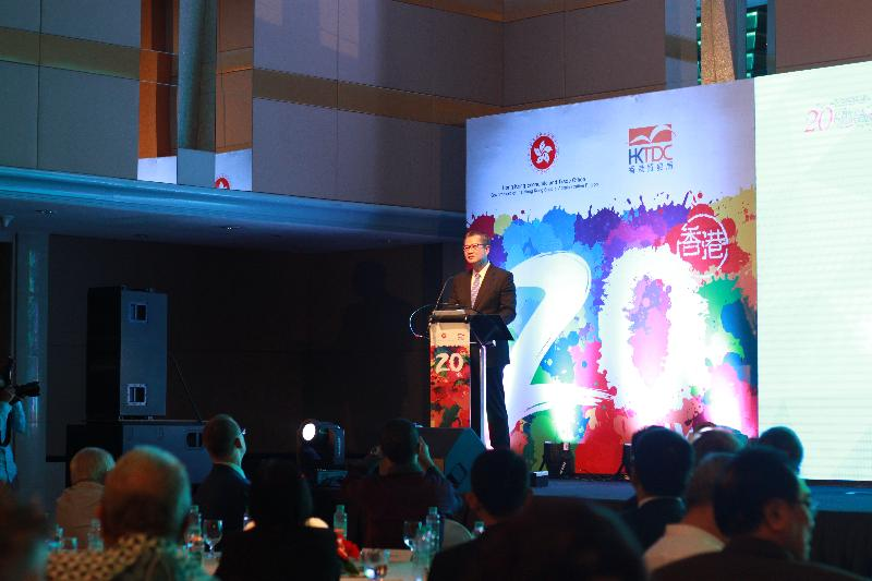 The Financial Secretary, Mr Paul Chan, speaks at the gala dinner organised by the Hong Kong Economic and Trade Office in Jakarta and the Hong Kong Trade Development Council to celebrate the 20th anniversary of the establishment of the Hong Kong Special Administrative Region in Jakarta, Indonesia, yesterday (July 26, Jakarta time).