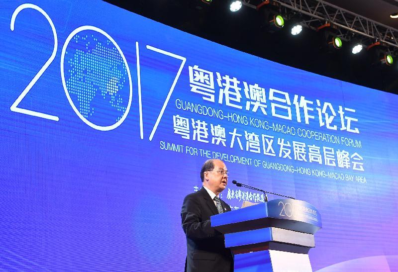 政務司司長張建宗今早(七月二十八日)在中山出席2017粵港澳合作論壇──粵港澳大灣區發展高層峰會,並在峰會上致辭。