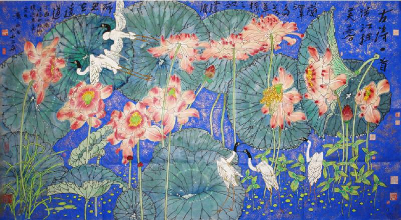 「全球水墨畫大展」八月四日至八日在香港會議展覽中心3B-E展覽廳舉行。圖示黃永玉水墨畫作《涉江採芙蓉》。