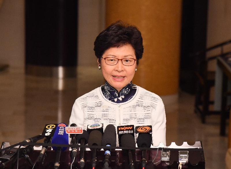 行政長官林鄭月娥今日(八月七日)傍晚在北京會見傳媒。