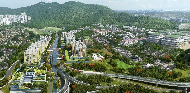 規劃署和土木工程拓展署今日(八月八日)公布「元朗南建議發展大綱圖」。圖為位於元朗南唐人新村活動中心的模擬景色圖。