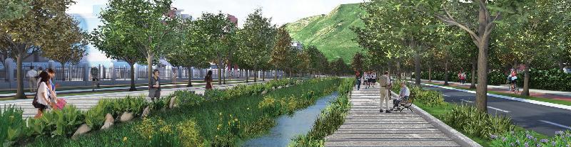 規劃署和土木工程拓展署今日(八月八日)公布「元朗南建議發展大綱圖」。圖為元朗明渠活化後的模擬景色圖。
