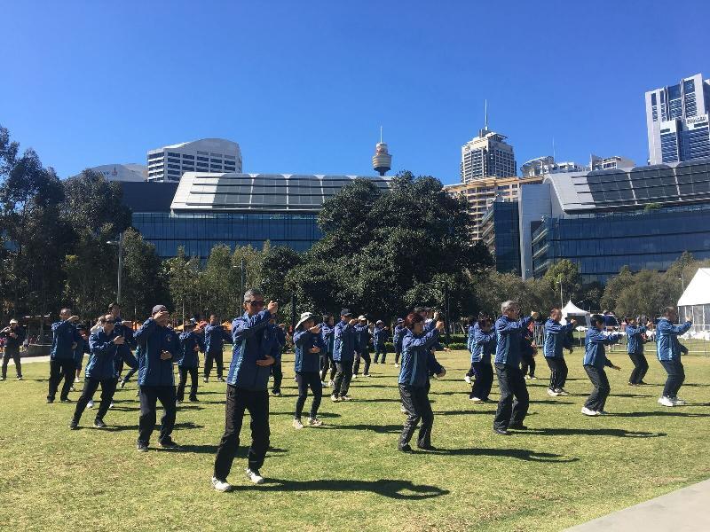 「HK20缤纷嘉年华」今日(悉尼时间九月九日)在悉尼举行。图示嘉年华其中一项文化活动──太极表演。