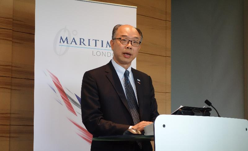 "The Secretary for Transport and Housing and Chairman of the Hong Kong Maritime and Port Board, Mr Frank Chan Fan, delivers a speech on the opportunities brought about by the Belt and Road Initiative and Hong Kong's role as a ""super-connector"" at a seminar on the Belt and Road Initiative organised by Maritime London today (September 13, London time)."