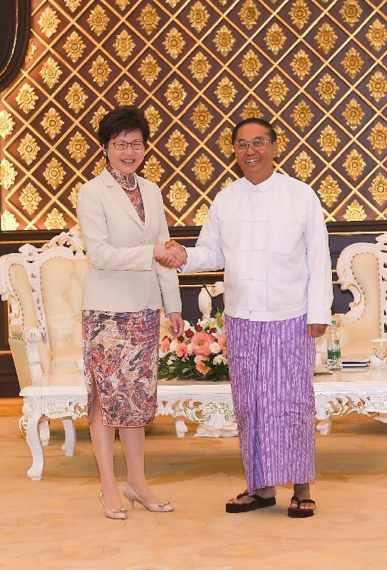 行政長官林鄭月娥今日(九月十五日)展開緬甸訪問行程。圖示林鄭月娥(左)上午在首都內比都與副總統吳敏瑞(右)會面。