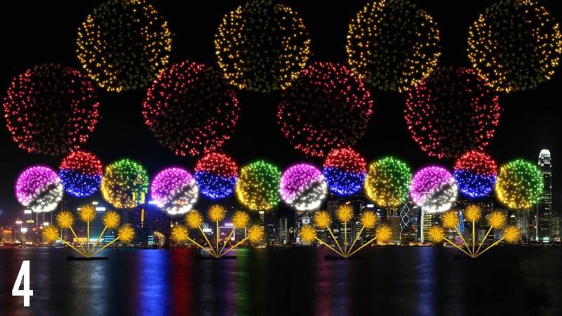 國慶煙花匯演十月一日晚上九時在維多利亞港舉行,共分八幕,圖為第四幕「旅程」。