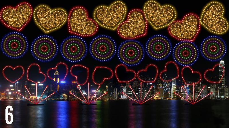 國慶煙花匯演十月一日晚上九時在維多利亞港舉行,共分八幕,圖為第六幕「愛在香港」。