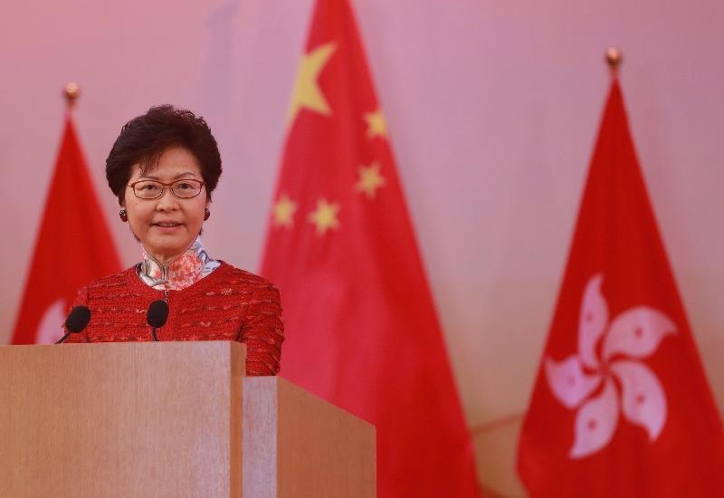 行政長官林鄭月娥今早(十月一日)在香港會議展覽中心大會堂主持慶祝中華人民共和國成立六十八周年酒會,並在酒會上致辭。