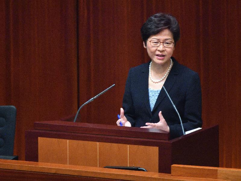 行政長官林鄭月娥今日(十月十二日)在立法會出席《行政長官2017年施政報告》答問會。