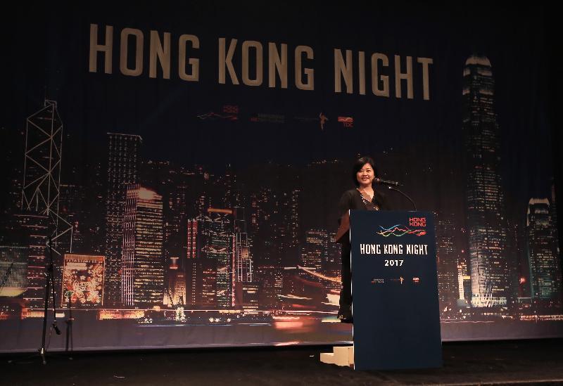 香港駐東京經濟貿易首席代表翁佩雯今晚(十月十五日)在韓國釜山舉行「香港夜」酒會上致辭。