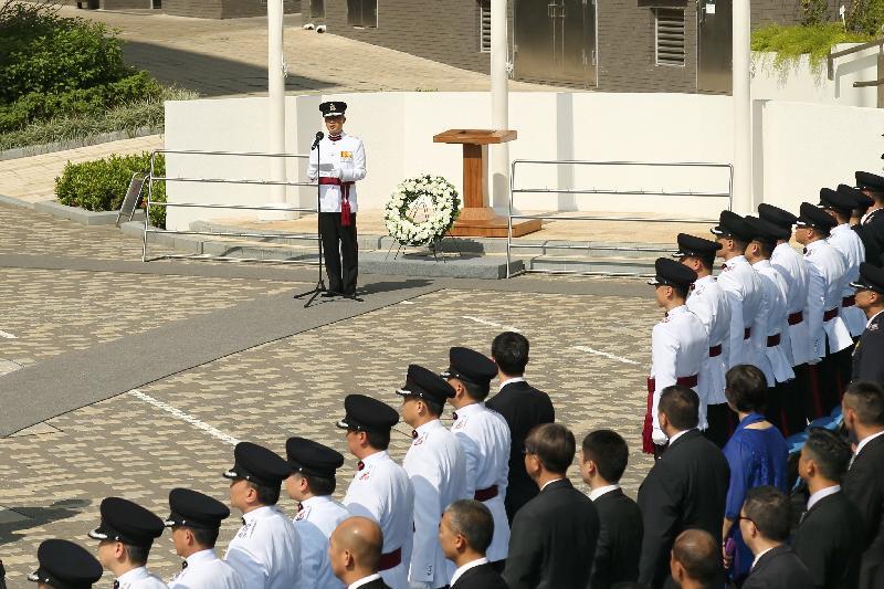 消防處處長李建日今日(十月二十六日)在「消防處紀念日」儀式上致辭。