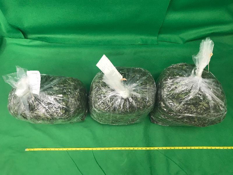 香港海關與澳洲邊防局於十月十六日至二十九日進行聯合行動,打擊利用空運郵件販運毒品的活動。圖示行動中部分檢獲的懷疑恰特草。