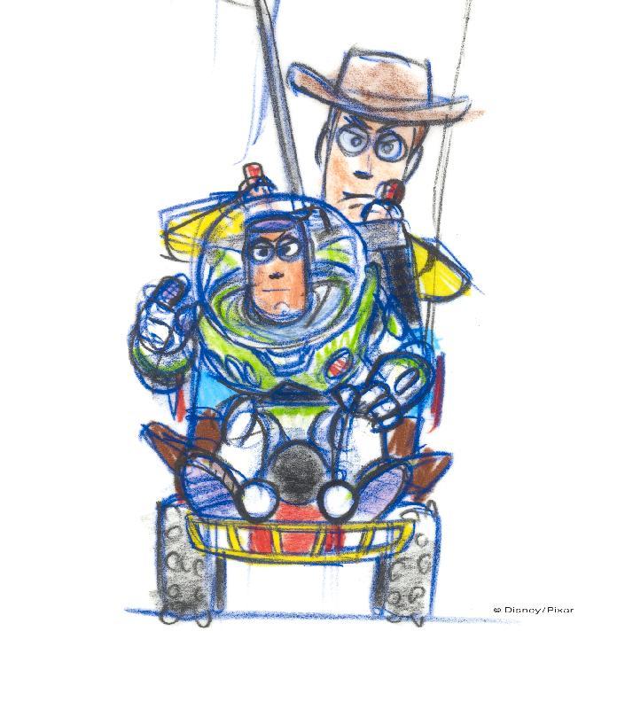 「彼思动画30年:家+友•加油!」展览由十一月十八日(星期六)至明年三月五日在沙田香港文化博物馆举行。图示其中一件精选展品--由卜‧普罗利创作的《反斗奇兵》(一九九五年)粗头墨水笔和铅笔绘制纸本。