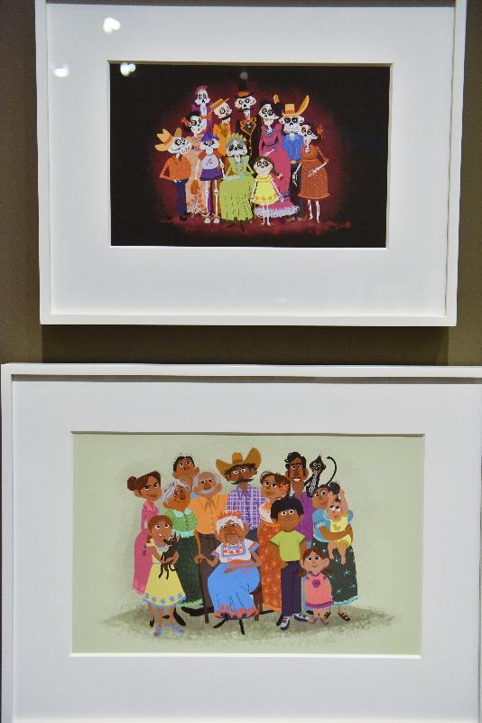 「彼思動畫30年:家+友‧加油!」展覽開幕典禮今日(十一月十七日)在香港文化博物館舉行。圖示全新電影《玩轉極樂園》畫作。